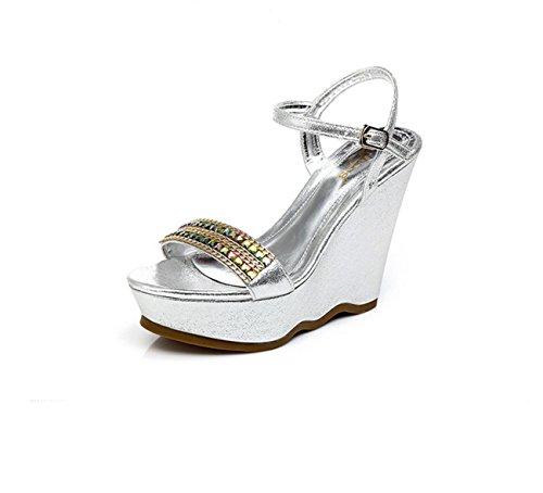 BaiLing Damen Sommer Sandalen / Wedge Ferse wasserdicht / Strass dicke Boden / kleine Größe weibliche Schuhe Silver