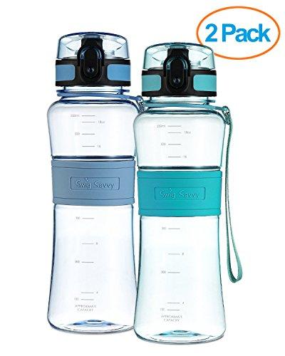 SWIG SAVVY Flaschen 18 Unze Triton Wasserflasche Umweltfreundlich & Bpafrei Lecksicher Ein Klick Flip Top Öffnen Ideal für Sport Yoga Camping Fahrradfahren & Joggen Blau/Grün