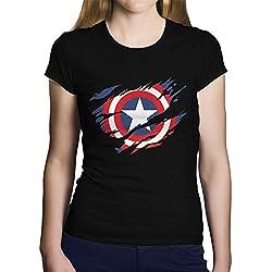 OKAPY Camiseta Capitan America. Una Camiseta de Mujer con el Escudo de Capitán América Rasgado.Camiseta Friki de Color Negro