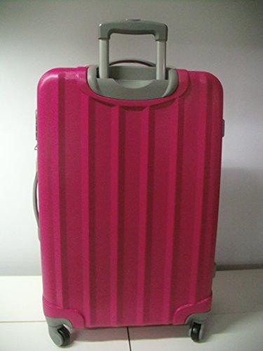 Trolley Set 3er Set Gepäck Taschen Koffer Kofferset Teleskop mit Zahlenschloss exklusive Verarbeitung tolle Farben massive robuste Qualität Trolley 3er Set XXL (brombeer) pink