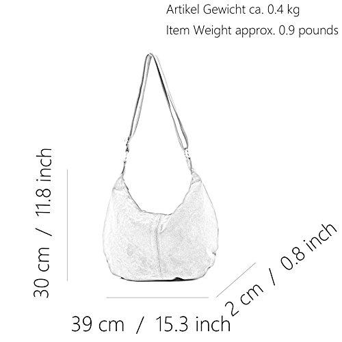 modamoda de - ital. Ledertasche Umhängetasche Schultertasche Damentasche Wildleder T123 Gelb