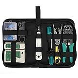 Set d'outils professionnels pour réseaux LAN compacts Set d'outils pour installation en réseau Testeur pour câbles Plieur Stripper Set de valises (mélange multicolore) (JIO-T)