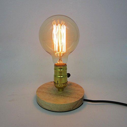 Wicker Swing (Hölzerne Sockel Tischlampe Weinlese industrielle Dekoration Schreibtisch Lampe)