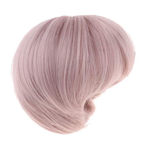 T TOOYFUL 1/3 BJD Lockiges Haar Perücken Kurze Haarteil Für Onkel Männliche Puppe Zubehör Machen - Graues Rosa (Männlich Rosa Perücke)