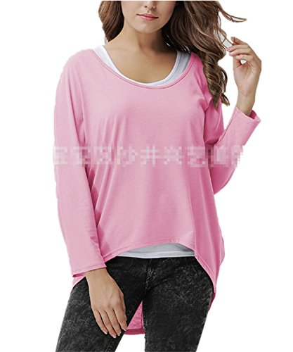 SHUNLIU Damen Oversize Asymmetrisch Langarm Pullover Pulli Strickjacke Lose Baggy Oberteile Jumper T-shirt Tops Bluse Rosa