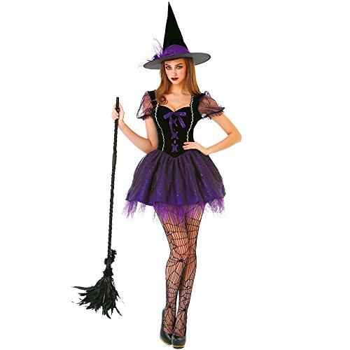 Unbekannt Wicked Hexe Damen Halloween Kostüm Sexy Spellcaster Klassisches Märchenkleid - Violett - Large