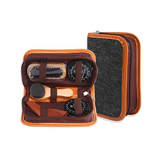 PAWACA Kit de 6 piezas para el cuidado de zapatos,zapatos de viaje,kit de cepillos de piel sintética,zapatero portátil,pinceles de madera para el óleo,caja cilíndrica de piel,zapato para piel.