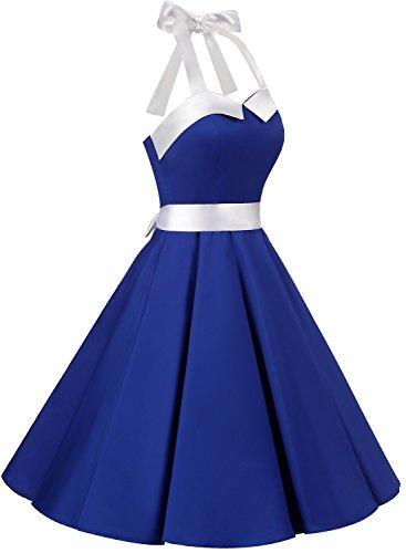 Dressystar Vintage Tupfen Retro Cocktail Abschlussball Kleider 50er 60er Rockabilly Neckholder Royal Blau mit Weiß S -