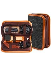 Pawaca Kit de 6 piezas para el cuidado de zapatos, zapatos de viaje, kit de cepillos de piel sintética, elegante funda elegante, zapatero portátil, pinceles de madera para el óleo, caja cilíndrica de piel, kit de viaje, zapato profesional para piel.
