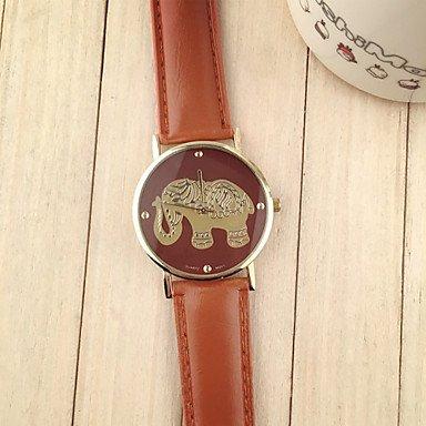 XKC-watches Relojes de Mujer, Resuli Nuevas Mujeres de la Llegada de Elefante patrón de impresión tejieron Relojes de Cuarzo del dial de Cuero (Color : Marrón, Género : para Mujer)