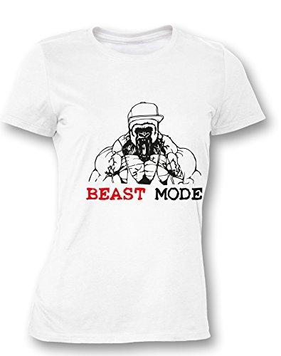 Beast Mode - Gorilla - Damen T Shirt Weiß / Bunt