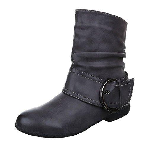 King Of Shoes Damen Stiefeletten Cowboy Western Stiefel Boots Flache Schlupfstiefel Schuhe 002 Grau