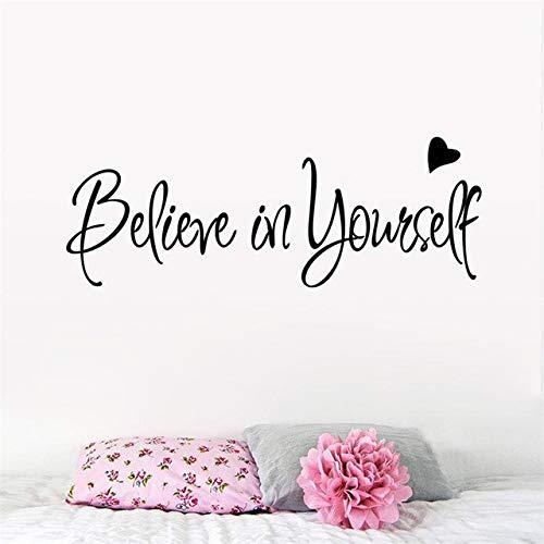zimmer Beileve In Yourself Love Heart Inspiration Zitat Worte Wohnkultur Wandaufkleber Klassenzimmer Arbeitszimmer Dekoration Für Kinderzimmer ()