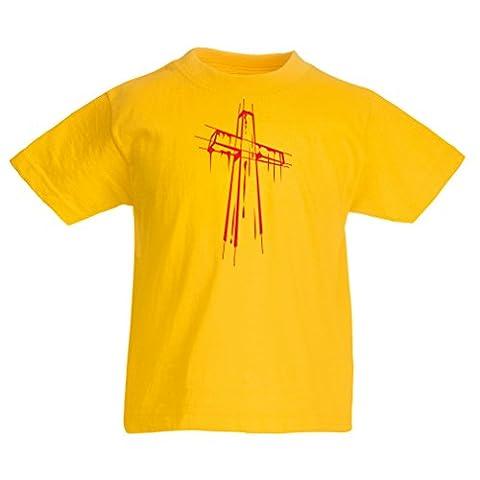 Kinder T-Shirt Beunruhigtes Kreuz - Eeligiöse Geschenke, Christliches Kleid (14-15