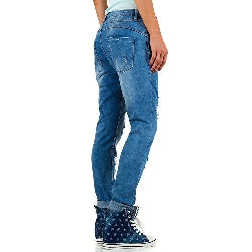 Used Look Hüft Boyfriend Skinny Jeans Für Damen Blau KL-J-JS99