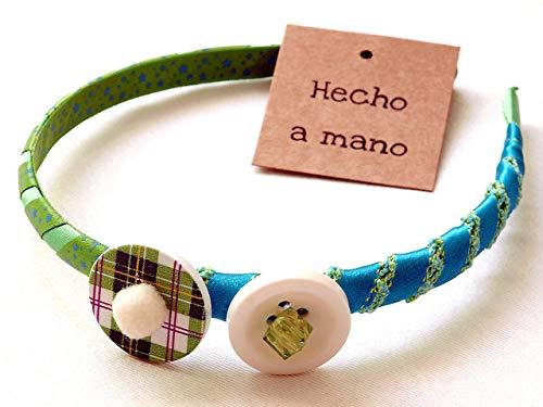 b753aa009 Diadema para niña mujer en tonos verde y azul hecha a mano