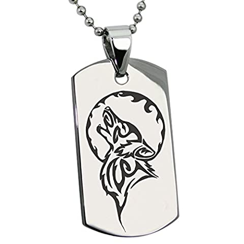 Stainless Steel Howling Mad Wolf Engraved Dog Tag
