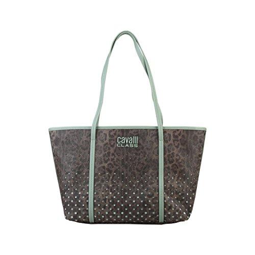 CAVALLI CLASS - Shopping Bag, - Donna Marrone/Verde Chiaro
