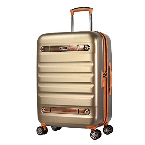 Eminent Gold Koffer Nostalgia 66 cm 73 L Hartschale aus Polycarbonat 4 Leise Doppelrollen TSA Schloss Champagner