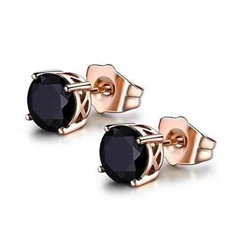 MASOP Clous Boucles d'oreilles 7MM Plaqué Or Rose Avec Oxy de Zirconium Noir,Bijoux Cadeau Femme