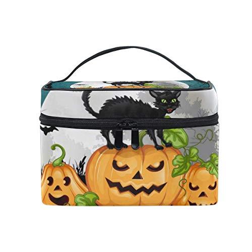 Tragbare hängende Make-up Kosmetiktasche Tasche,Travel Cosmetic Bag Halloween Pumpkin Cat Toiletry Makeup Bag Pouch Tote Case Organizer Storage for Women Girls (Cat Kid Halloween-make-up)