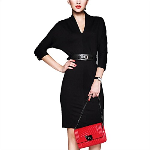 tempérament robe mince robe sexy - rouge Black