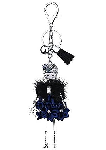 BABEYOND Porte-clé Femme Porte-clés Cristal Porte-clés en Strass Pendentifs pour Sac à Main Porte-clefs Portefeuille Rhinestone Fille de Ballet Décoration de Sac à Main, Fille de Robe Bleu