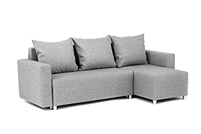 Oslo Corner Sofa Bed with Underneath Storage in Grey Linen Fabric by Abakus Direct