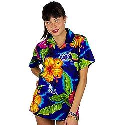 V.H.O. Funky Camisa Hawaiana, BigFlower, Blue, L