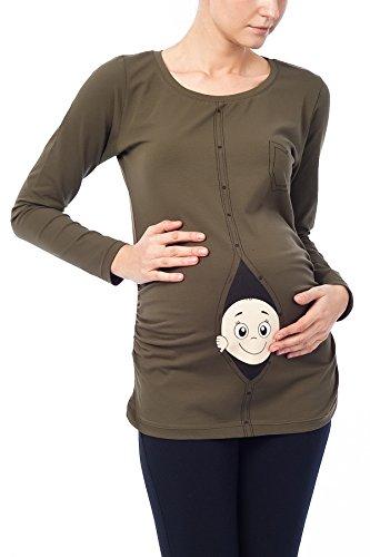 Baby First Tee T-shirt (Baby Hemd - Witzige süße Umstandsmode T-Shirt mit Motiv Schwangerschaft, Langarm, Hemd Khaki, L)