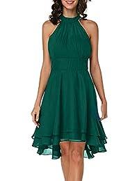 a93d828521e Robe Longue Femme Grande Taille sans Manches Halter Dress Couleur Pure  Elegant Vintage Robe Décontractée Cocktail