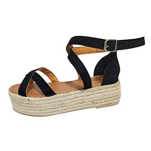 Damen Sandalen Böhmischer Stil Plattform Damen Keilpumps Stroh Dicke Schuhe Damen römische Sandalen