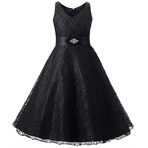 Festlich Kleider Mädchen Kleider Longra Kinder Spitzenkleid mitBlumen-Muster Prinzessin Kleid Taufkleid Blumenmädchen Brautjungfern Hochzeit Abendkleid Party Kleid (Black, 105-110CM 5Jahre)