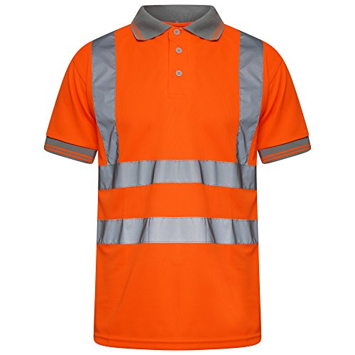 Price comparison product image INDX-Clothing Hi Viz Vis High Visibility Polo Shirt Reflective Tape Safety Security Work Button T-Shirt Breathable Lightweight Double Tape Workwear Top (Orange / Short Sleeve,  X-Large)
