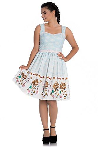 Hell Bunny GIGI Candy Cane GINGERBREAD Clouds Vintage Swing Dress KLEID (L)