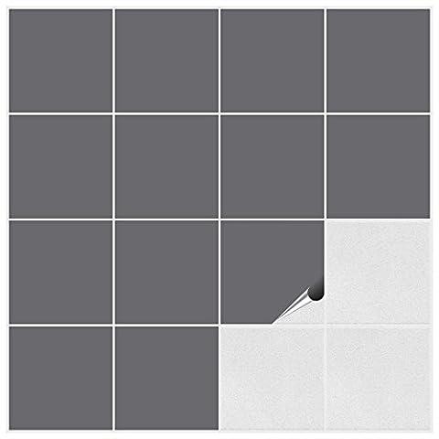 Fliesenaufkleber für Bad und Küche - 15x15 cm - silbergrau