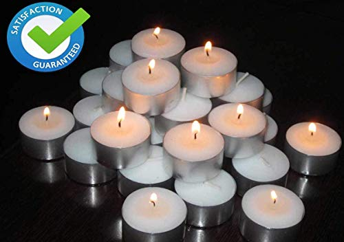 Pure Source India Premium Tea Light Smokeless Candles, Pack of 50, 3 Hours Burning