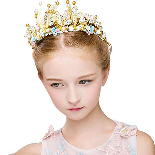 PowerBH Mädchen Kristall Krone Weibliche Geburtstagsfeier Hochzeit Headwear Zubehör Flash Headwear Geburtstag Party Supplies Dekoration (Für Kostüm Mädchen Flash)