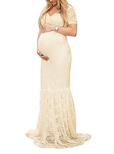 Elegantes Damen Umstandskleid Mutterschaft Fotografie Kleid Schwangerschafts Kleid Spitzenkleid Empire Kleid Spitzen Rundhals Kurz-sleeved V-Ausschnitt MaxiKleid Beige (Cowl Mutterschaft Kleid Neck)