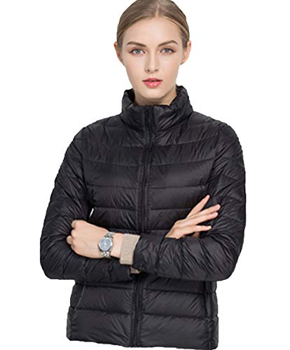Sytiz New Winter Down Coat Women Warm Chic Parkas Solid Stand 90% White Duck Long Sleeve Jackets Light Slim Autumn Black M White-footed Mug