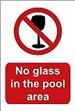Schwimmbad Schild: kein Glas in die Pool-Bereich A5