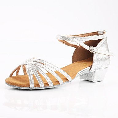 Frauen Tanzschuhe Synthetische Latin Heels Customized Heel Indoor Silver