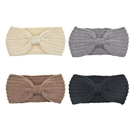 DRESHOW 4 Stück Damen Schleife Design Stirnband Winter Kopfband Haarband Stirnband Häkelarbeit
