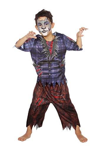 Werwolfkostüm Kostüm Werwolf Kinder Jungen Halloween Wolf Tier Karneval 116-176 Blau/Braun/Grau 140/152 (10-12 Jahre) (Grau Werwolf Kinder Kostüm)
