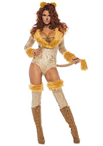Leg Avenue 8677902077 3 teilig Set Schöne Löwin, Damen Karneval Kostüm Fasching, Braun, Größe M (EUR - Für Erwachsene Sexy Löwen Kostüm