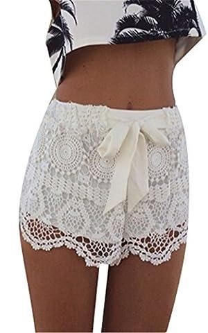 Pantalons Blansdi Femmes Sexy élastique ajouré de dentelle crochet Bow Shorts Hot Clubwear