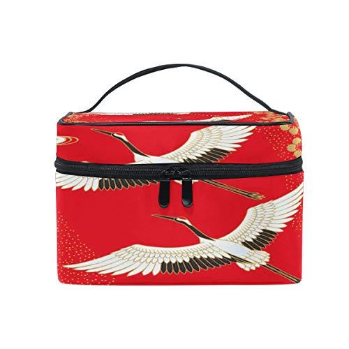 WowPrint Japan Sakura-Kran-Druck Kosmetiktasche Kulturbeutel großer Reise Organizer Waschen Tasche Make-up-Tasche Kulturtasche für Damen Herren Unisex -