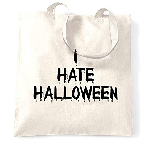 Anti-Urlaub Tragetasche Ich hasse Halloween Slogan White One Size