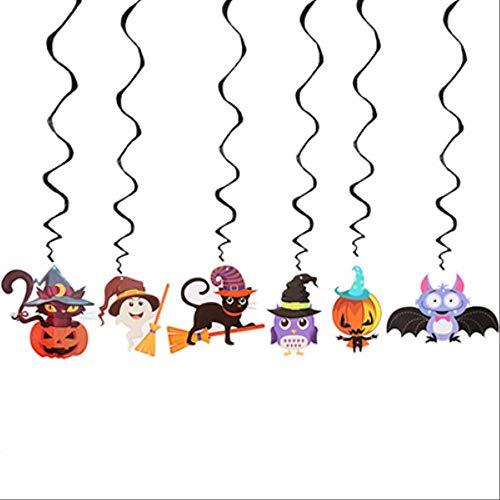 Halloween Einzigartige Ideen Kostüm Für Damen - WSCOLL 6 Teile/Satz Spirale Halloween Dekoration Kindergarten Schule Halloween Party Hängende Dekoration Ideenschwarz wirbeln