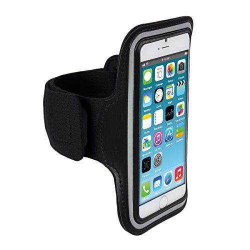 kwmobile fascia da braccio sportiva per Apple iPhone 6 / 6S / 7 - jogging corsa borsa da sport fascia fitness con scomparto per chiavi nella fascia da braccio in nero